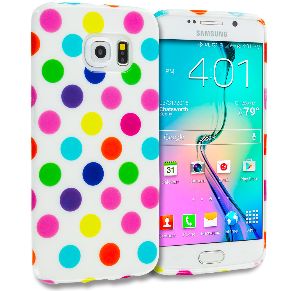 Samsung Galaxy S6 Edge White / Colorful TPU Polka Dot Skin Case Cover