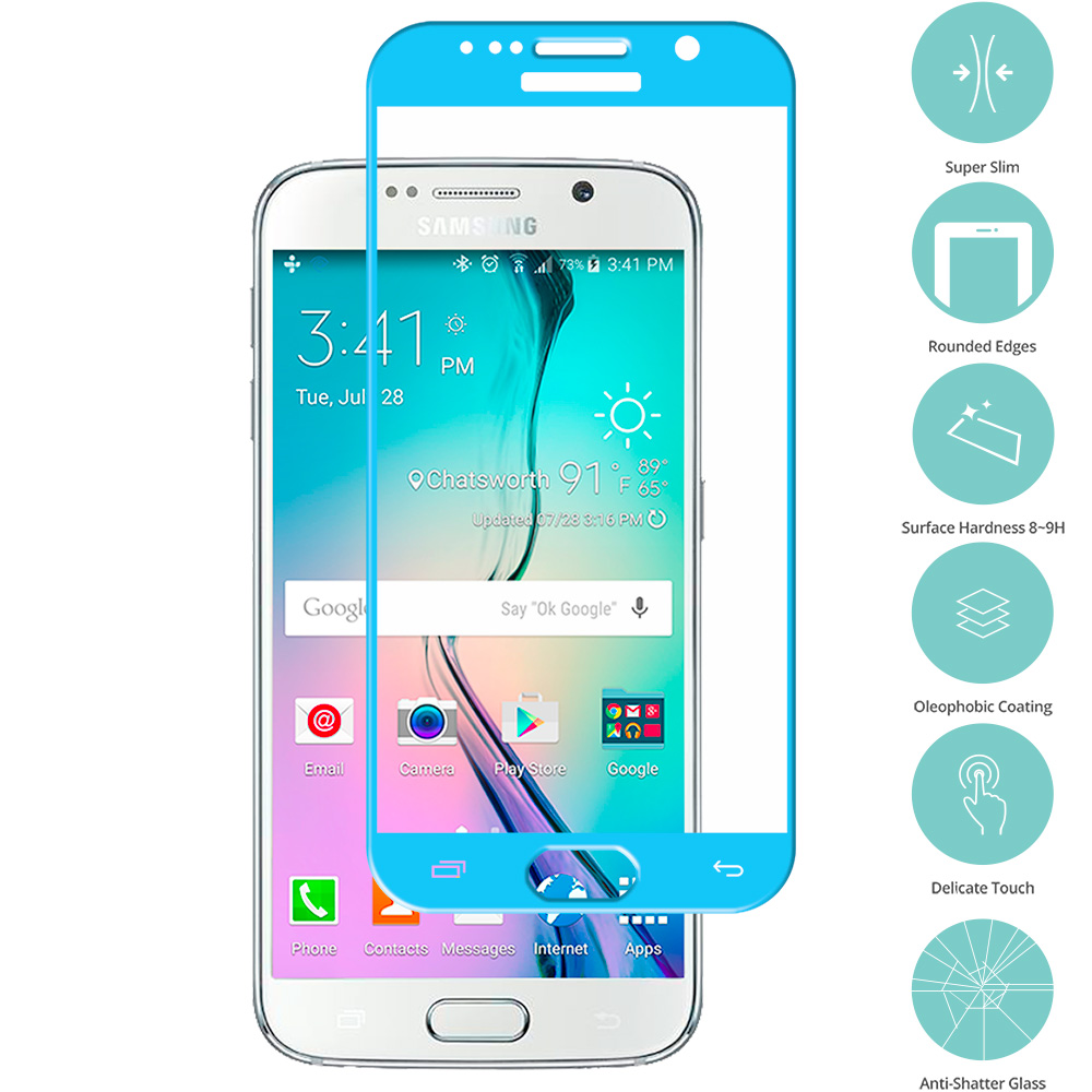 Samsung Galaxy S6 Baby Blue Tempered Glass Film Screen Protector Colored