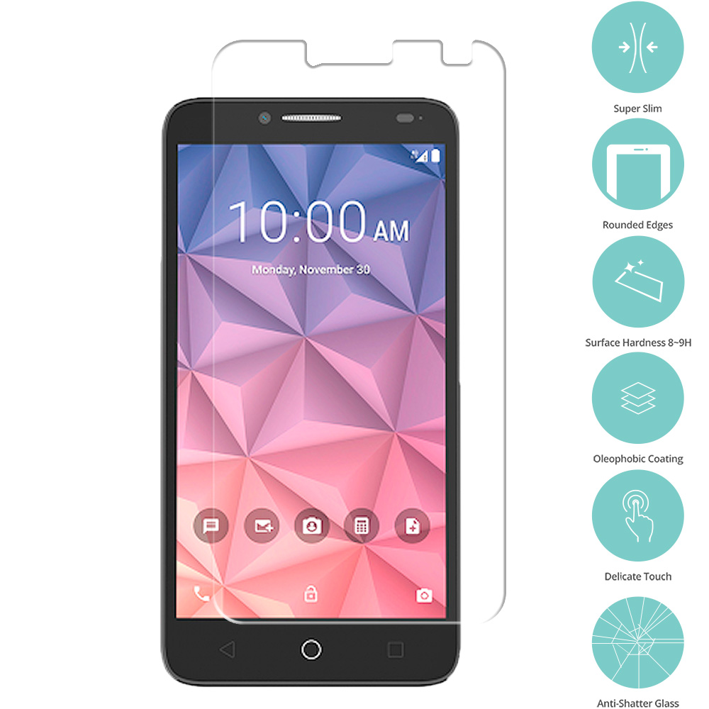 Alcatel OneTouch Fierce XL Clear Tempered Glass Film Screen Protector Clear