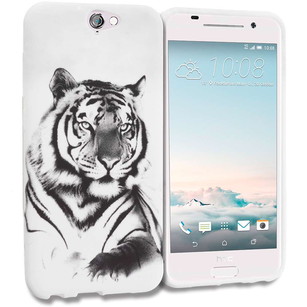HTC Aero One A9 White Tiger TPU Design Soft Rubber Case Cover