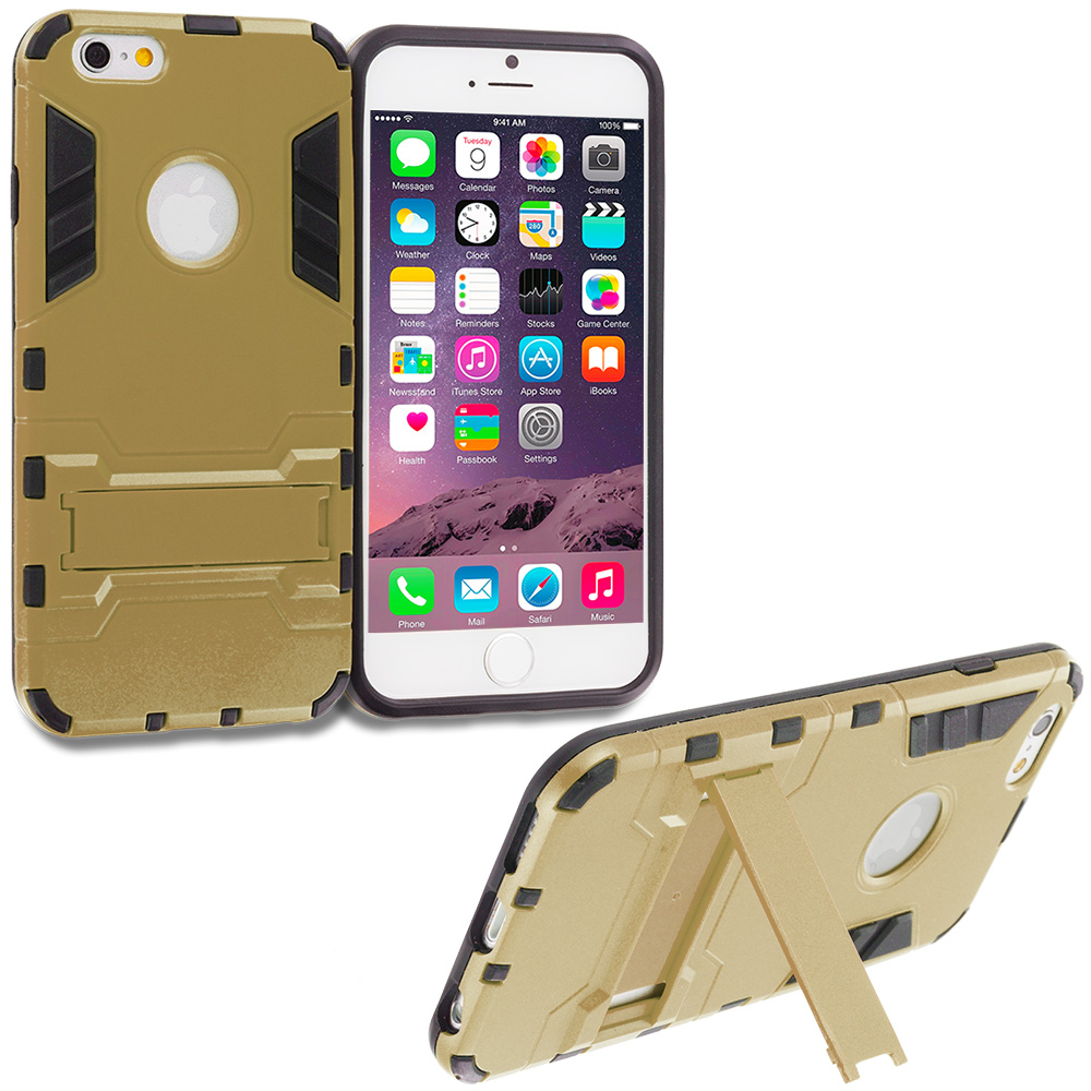 Apple iPhone 6 Plus 6S Plus (5.5) Gold Hybrid Transformer Armor Slim Shockproof Case Cover Kickstand