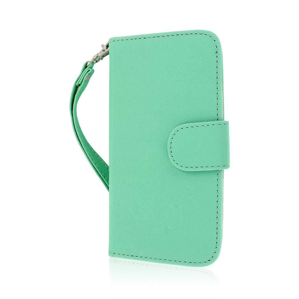 HTC One M8 M8 - Mint/ White MPERO FLEX FLIP Wallet Case Cover