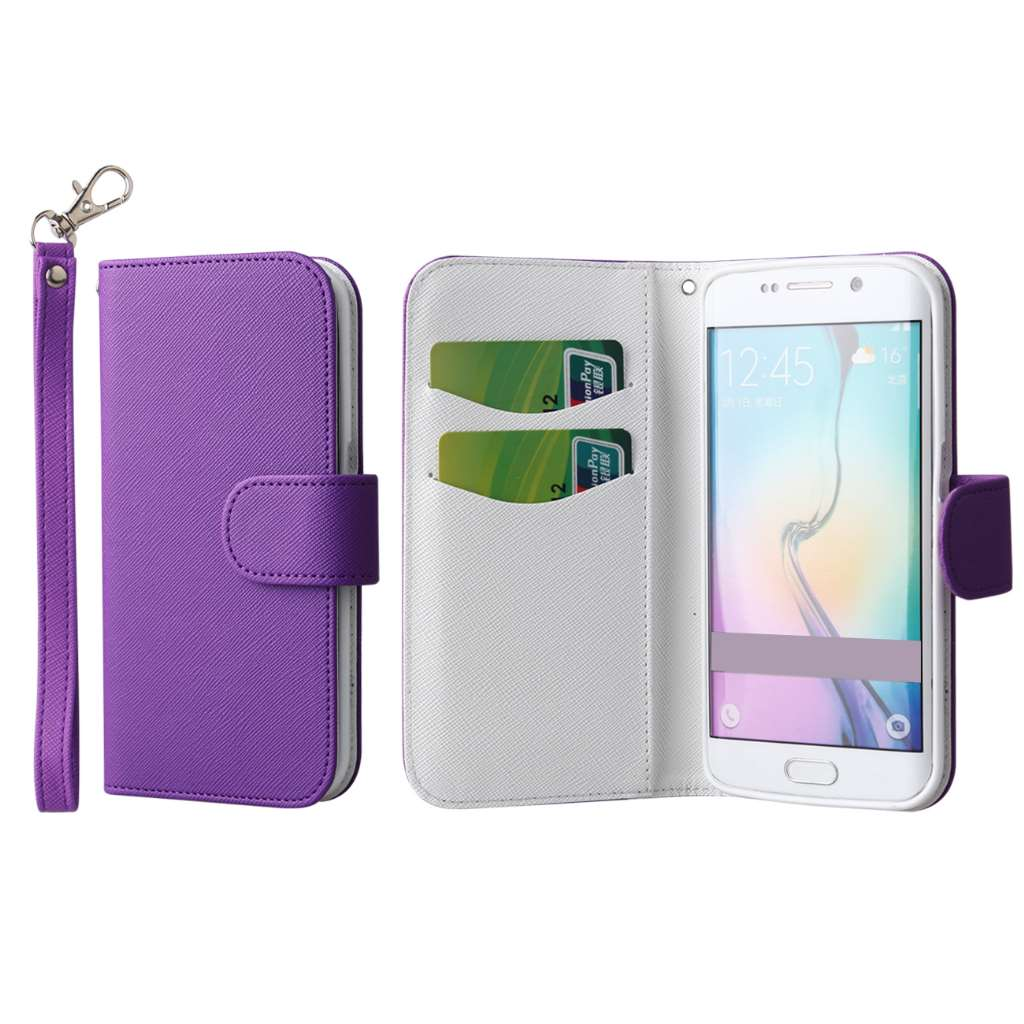 Samsung Galaxy S6 Edge - Purple MPERO FLEX FLIP Wallet Case Cover