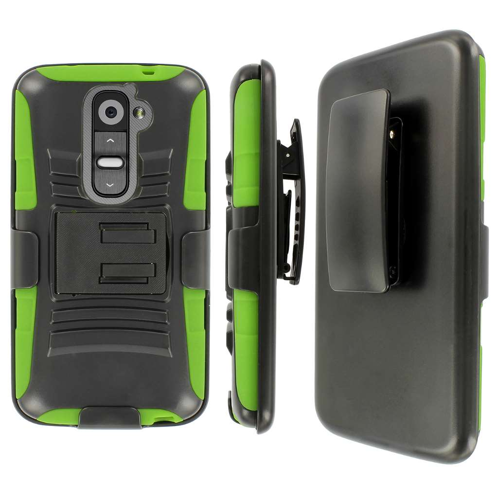 LG G2- BLACK/NEON GREEN MPERO IMPACT XT - Kickstand Case and Belt Holster