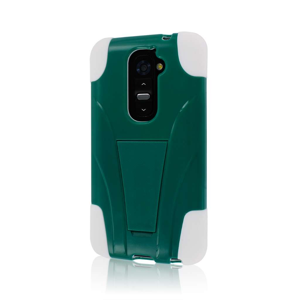 LG G2 - TEAL / WHITE MPERO IMPACT X - Kickstand Case Cover