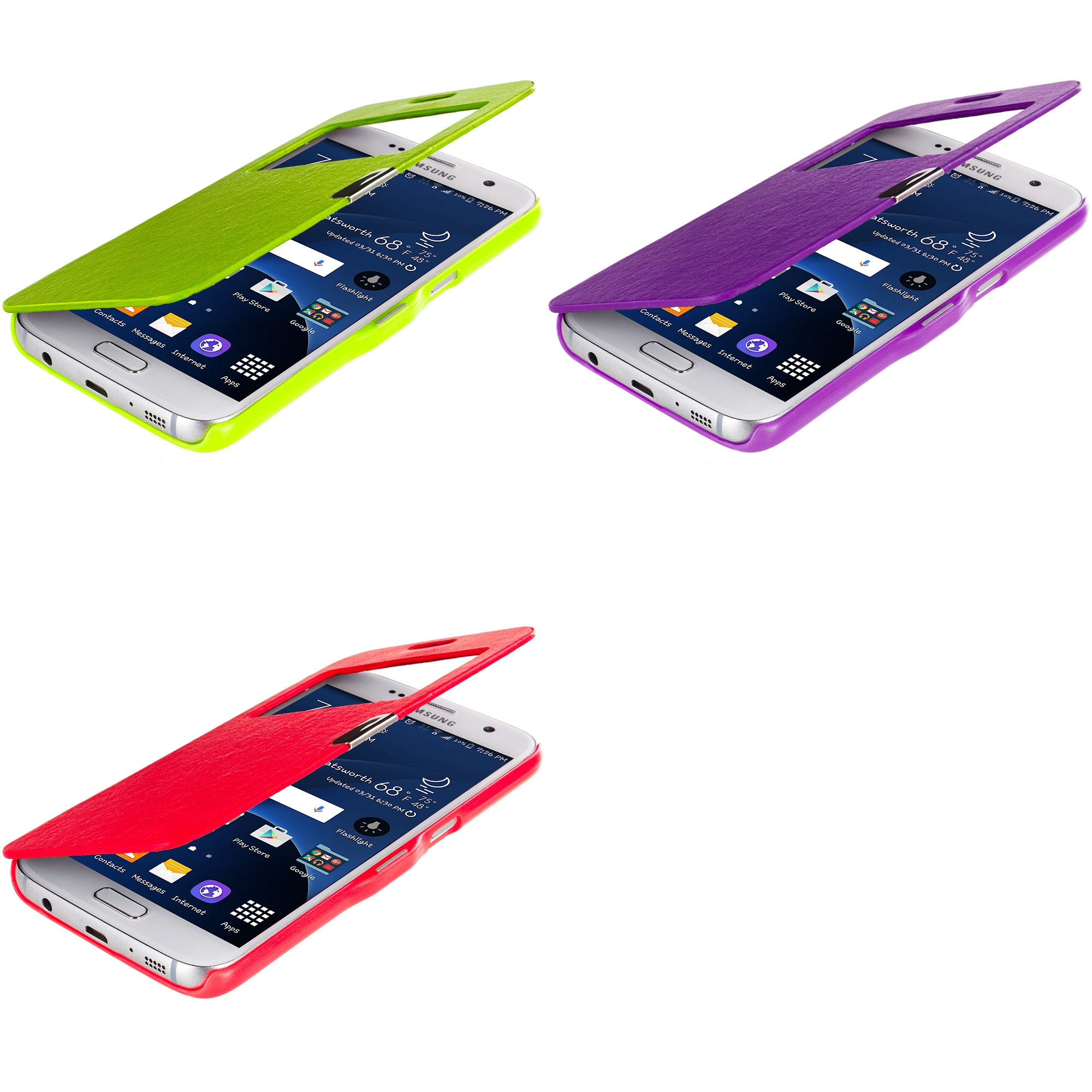 Samsung Galaxy S7 Combo Pack : Neon Green With Window Magnetic Flip Wallet Case Cover Pouch
