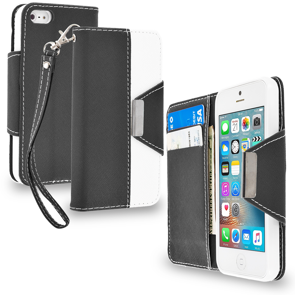 Apple iPhone 5/5S/SE Black Wallet Magnetic Metal Flap Case Cover With Card Slots