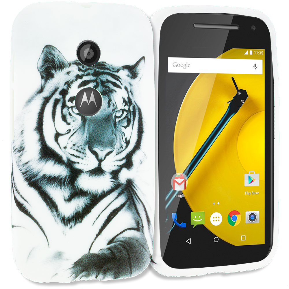 Motorola Moto E White Tiger TPU Design Soft Rubber Case Cover
