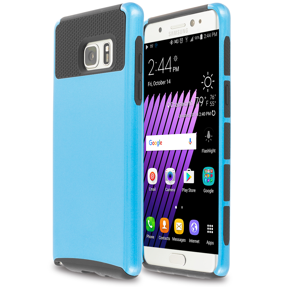 Samsung Galaxy Note 7 Blue / Black Hybrid Hard TPU Honeycomb Rugged Case Cover