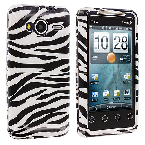 HTC EVO Shift 4G Black / White Zebra Design Crystal Hard Case Cover