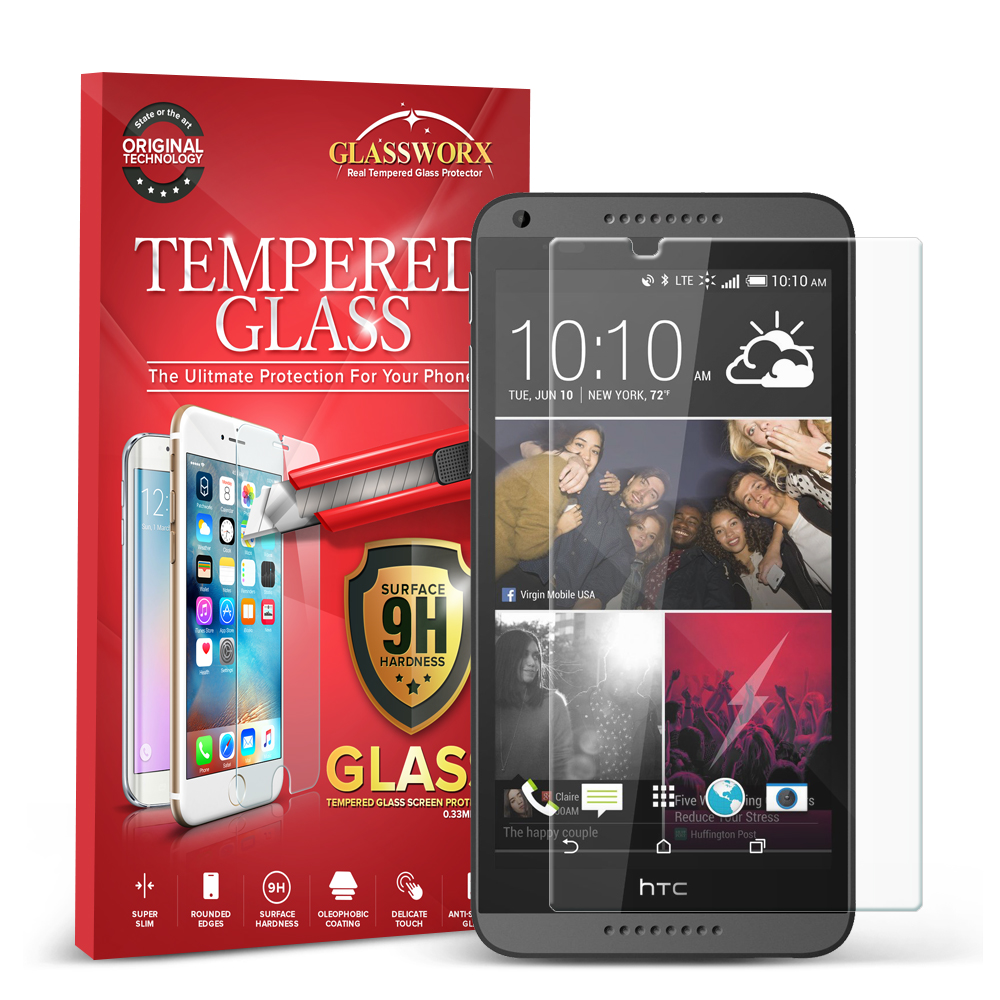 HTC Desire 816 GlassWorX HD Clear Tempered Glass Screen Protector