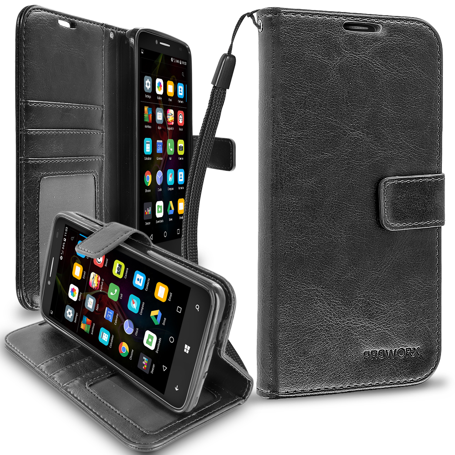 Alcatel OneTouch Fierce XL Black ProWorx Wallet Case Luxury PU Leather Case Cover With Card Slots & Stand