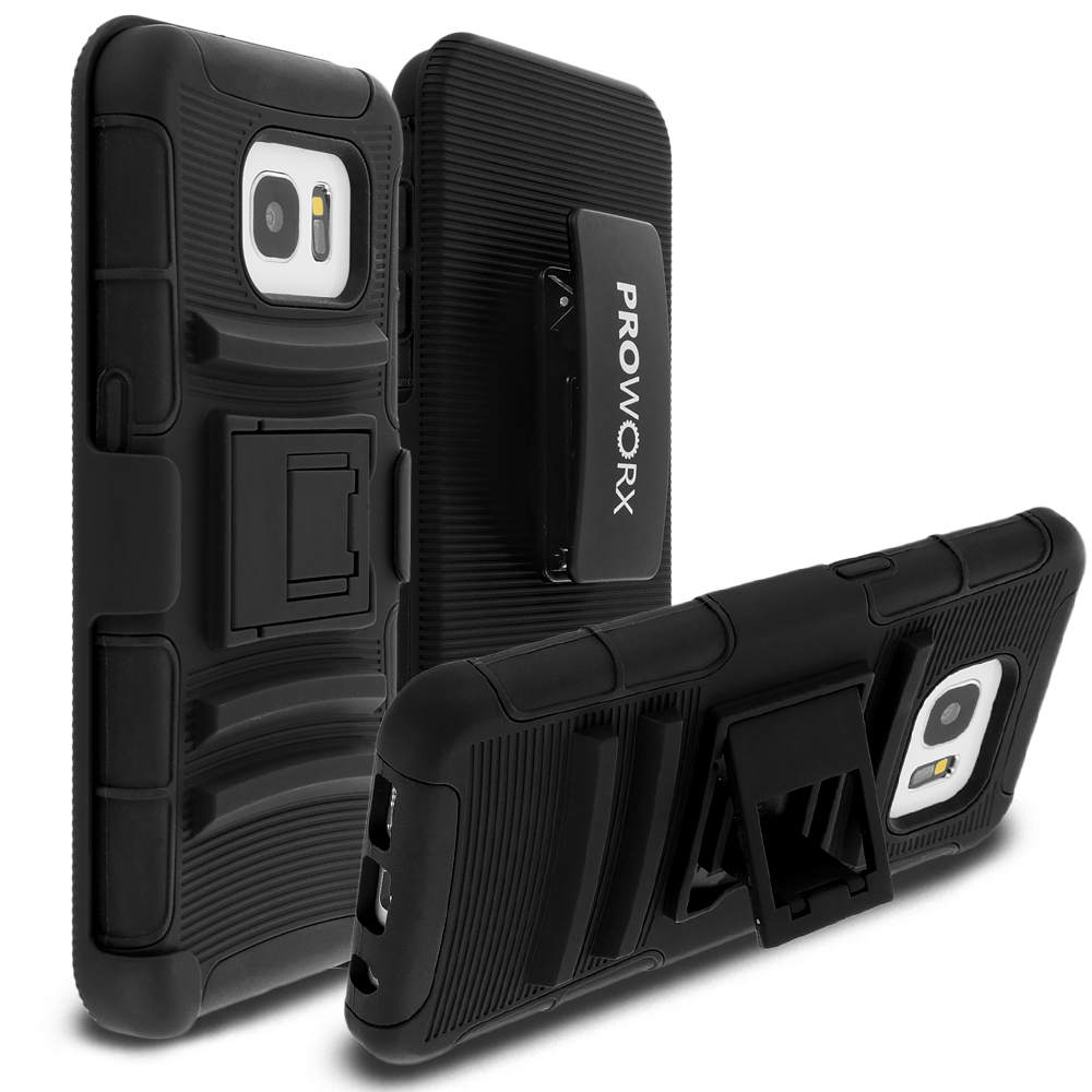Samsung Galaxy S7 Edge Black ProWorx Heavy Duty Shock Absorption Armor Defender Case Cover With Belt Clip Holster