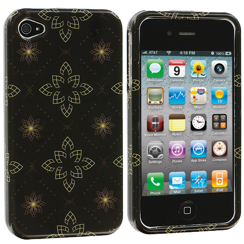 Apple iPhone 4 / 4S Silver Window Flower Design Crystal Hard Case Cover