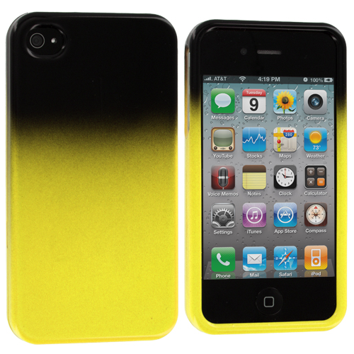 Apple iPhone 4 / 4S Black / Yellow Two-Tone Hard Case Cover