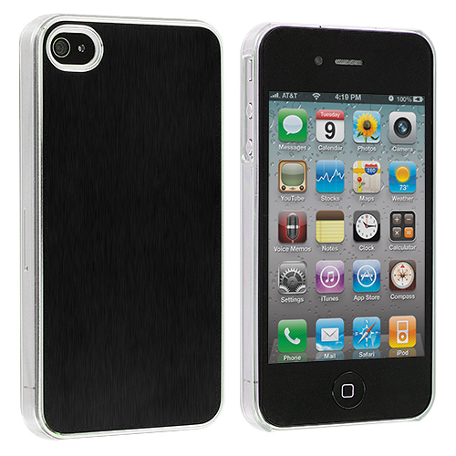 Apple iPhone 4 / 4S 2 in 1 Combo Bundle Pack - Purple Black Aluminium Brushed Aluminum Metal Hard Case Cover : Color Black Aluminium Brushed