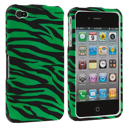 Apple iPhone 4 Green Zebra Hard Rubberized Design Case Cover