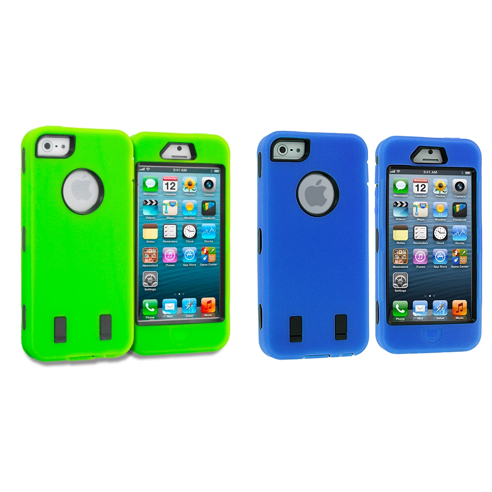 Apple iPhone 5/5S/SE 2 in 1 Combo Bundle Pack - Neon Green Blue Deluxe Hybrid Deluxe Hard/Soft Case Cover
