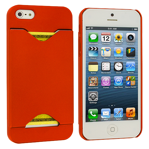 Apple iPhone 5/5S/SE Orange Hard Rubberized Credit Card ID Case Cover