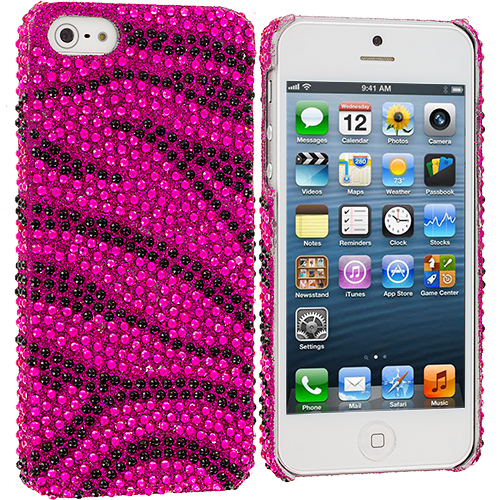 Apple iPhone 5/5S/SE Black / Hot Pink Zebra Bling Rhinestone Case Cover