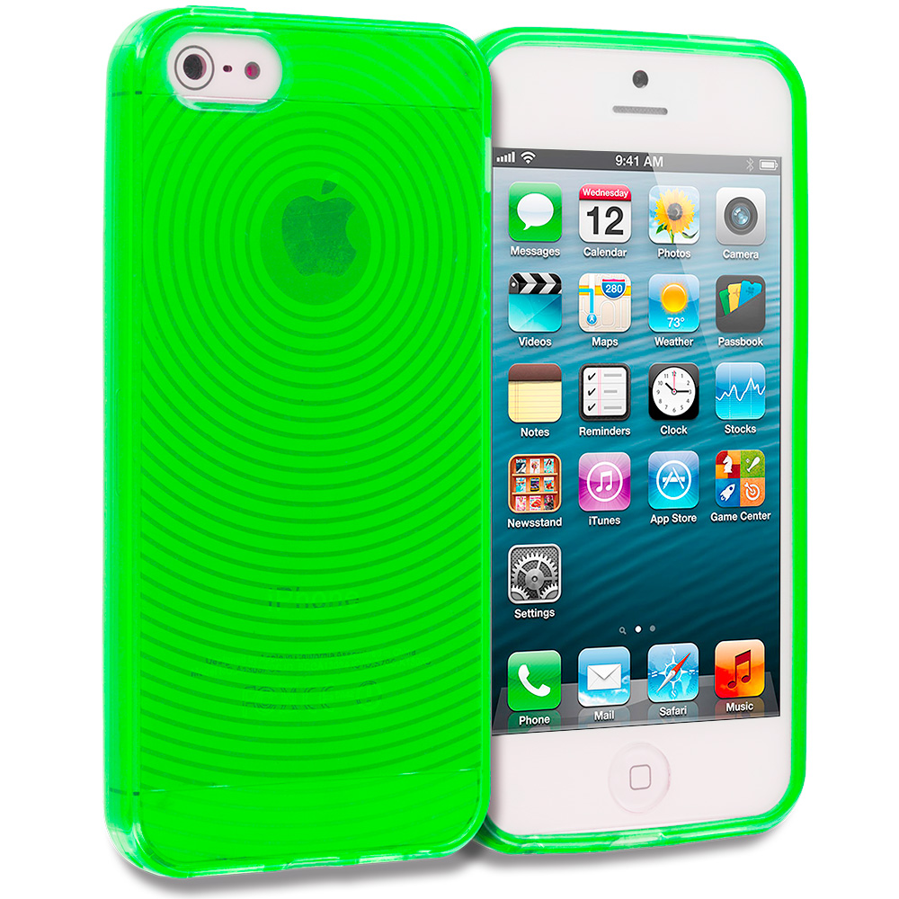 Apple iPhone 5/5S/SE 2 in 1 Combo Bundle Pack - Clear Fingerprint TPU Rubber Skin Case Cover : Color Neon Green Fingerprint