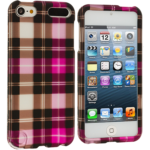 Apple iPod Touch 5th 6th Generation Hot Pink Checkered Hard Rubberized Design Case Cover