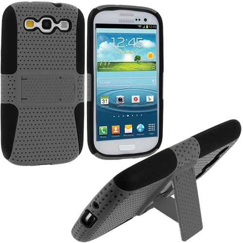 Samsung Galaxy S3 2 in 1 Combo Bundle Pack - Gray Blue Hybrid Mesh Hard/Soft Case Cover with Stand : Color Black / Gray