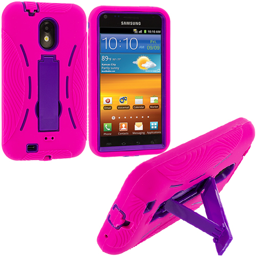 Samsung Epic Touch 4G D710 Sprint Galaxy S2 Hot Pink / Purple Hybrid Heavy Duty Hard/Soft Case Cover with Stand