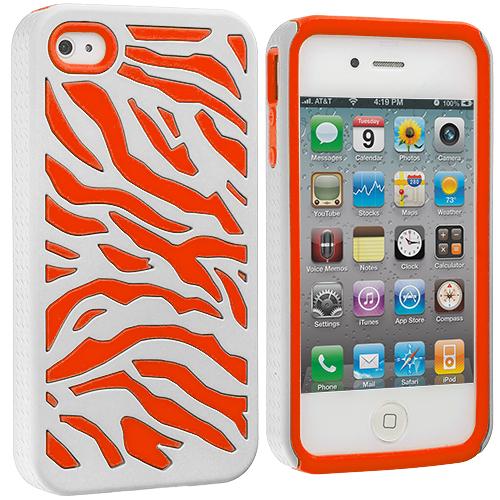Apple iPhone 4 / 4S Orange / White Hybrid Zebra Hard/Soft Case Cover