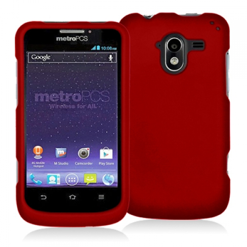 ZTE Avid 4G N9120 Red Hard Rubberized Case Cover