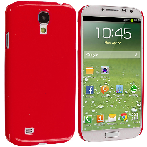 Samsung Galaxy S4 Red Solid Crystal Hard Back Cover Case