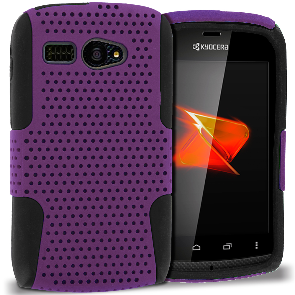 Sanyo Kyocera Hydro C5170 Black / Purple Hybrid Mesh Hard/Soft Case Cover
