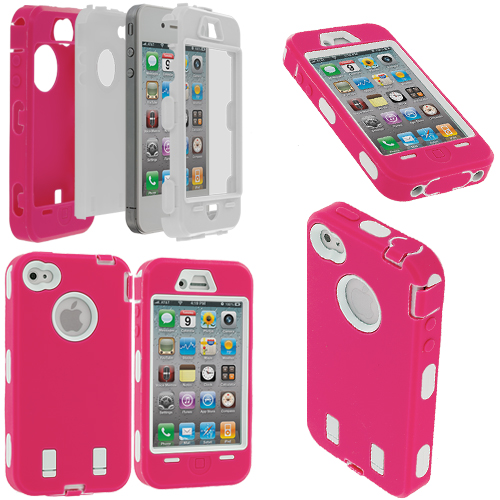 Apple iPhone 4 / 4S Hot Pink / White + Protector Hybrid Deluxe Hard/Soft Case Cover
