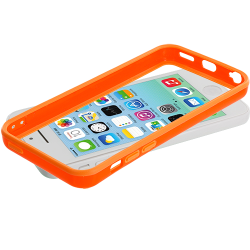Apple iPhone 5C 2 in 1 Combo Bundle Pack - Orange Red Solid TPU Bumper with Metal Buttons : Color Orange Solid