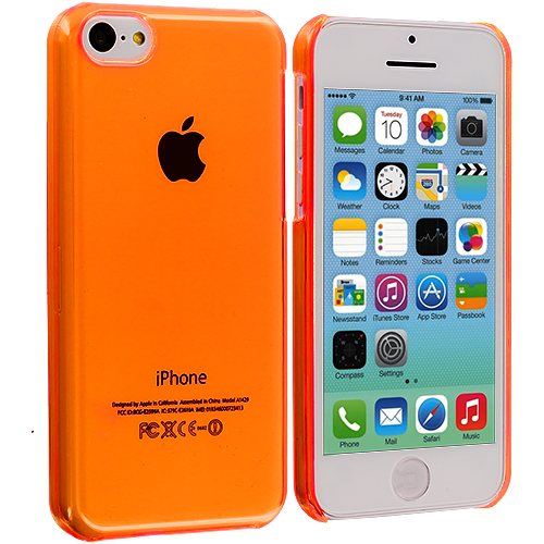 Apple iPhone 5C 2 in 1 Combo Bundle Pack - Clear Orange Transparent Crystal Hard Back Cover Case : Color Orange Transparent