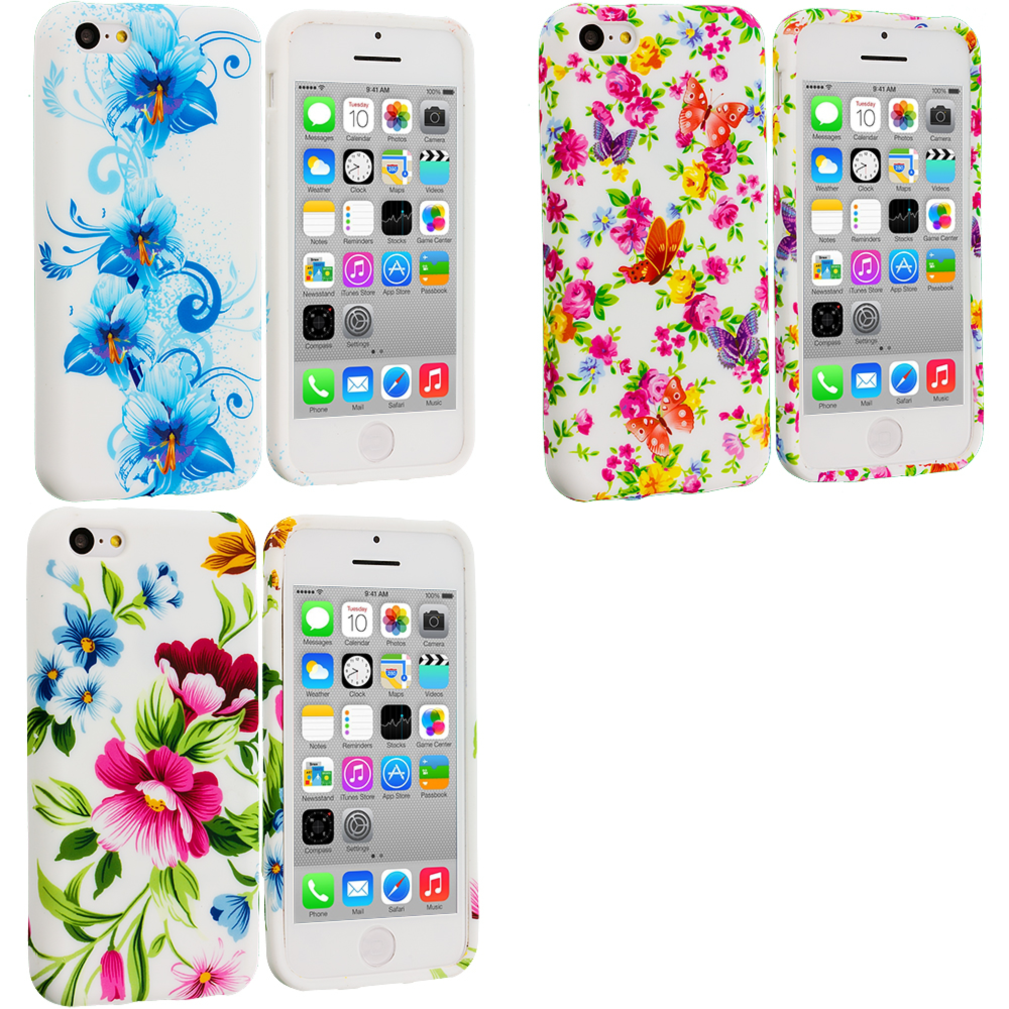 Apple iPhone 5C 3 in 1 Combo Bundle Pack - Flower TPU Design Soft Case Cover