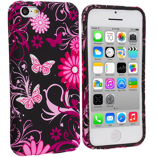 Apple iPhone 5C 2 in 1 Combo Bundle Pack - Butterfly Flower TPU Design Soft Case Cover : Color Pink Butterfly Flower