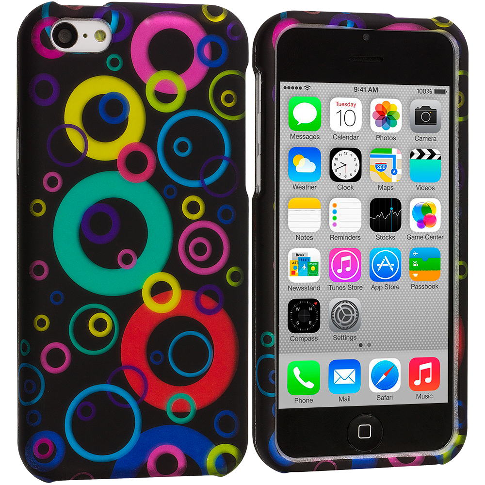 Apple iPhone 5C 2 in 1 Combo Bundle Pack - Colorful Bubbles / Circles Hard Rubberized Design Case Cover : Color Colorful Bubbles / Circles