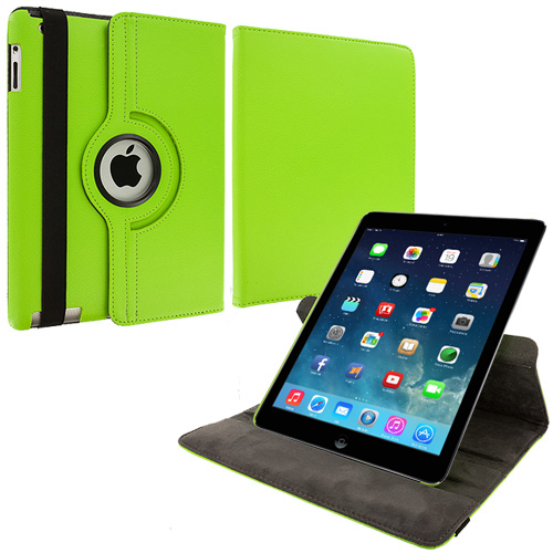 Apple iPad Air Neon Green 360 Rotating Leather Pouch Case Cover Stand