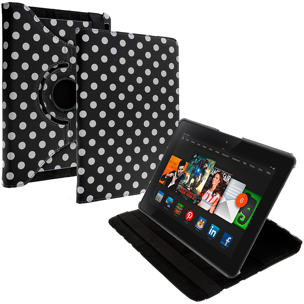Amazon Kindle Fire HDX 8.9 Black White Polka Dot 360 Rotating Leather Pouch Case Cover Stand