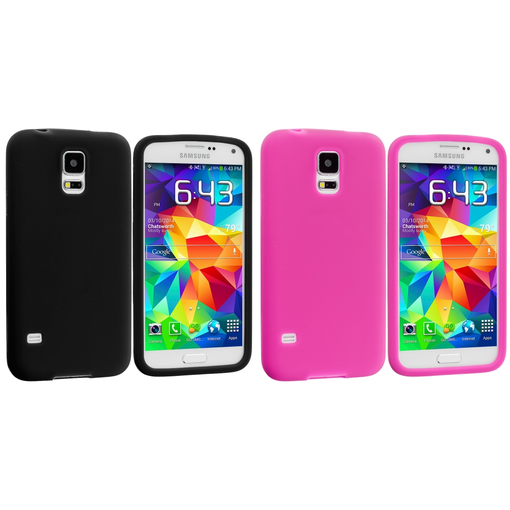 Samsung Galaxy S5 2 in 1 Combo Bundle Pack - Black Pink Silicone Soft Skin Case Cover
