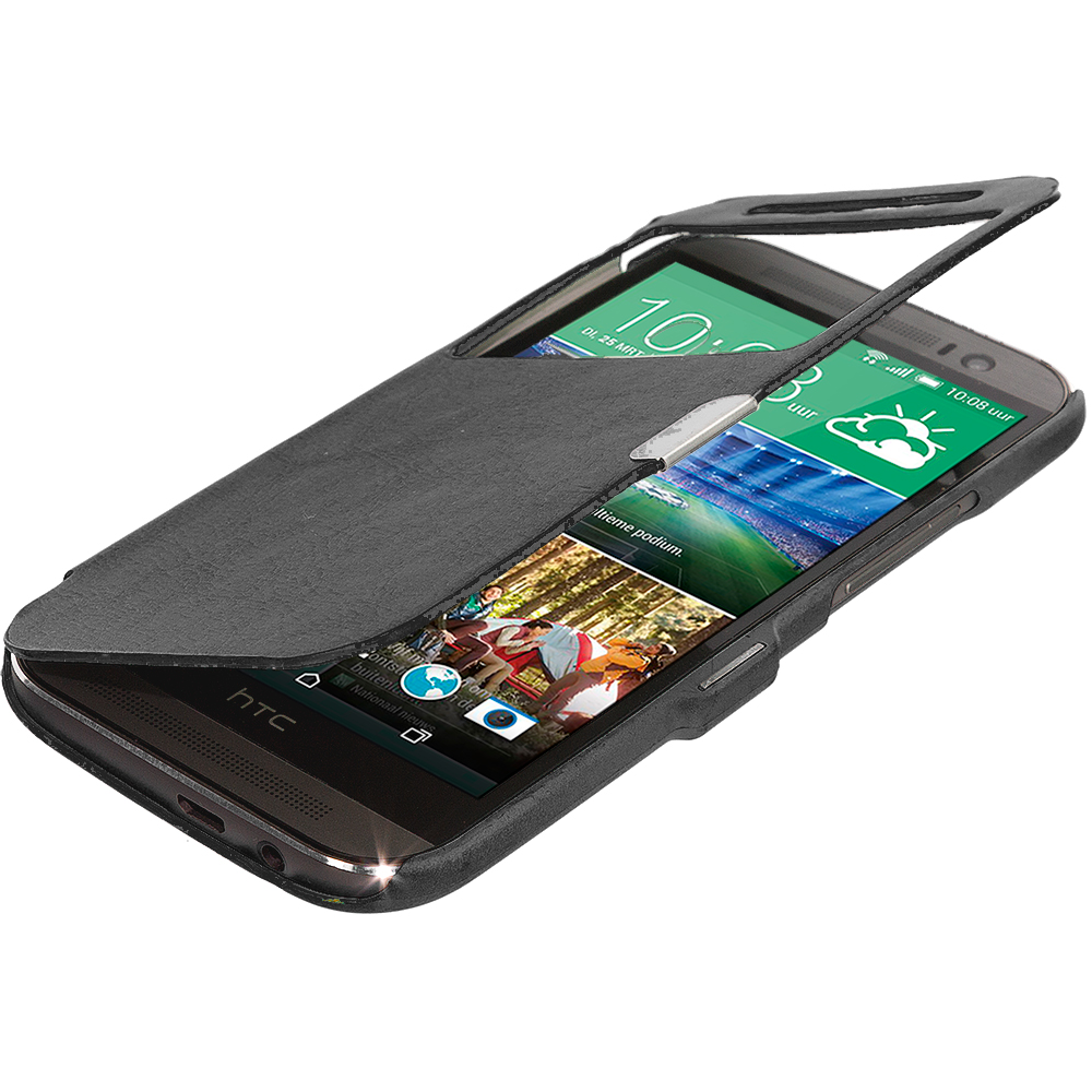 HTC One M8 Black (Open Front) Magnetic Wallet Case Cover Pouch
