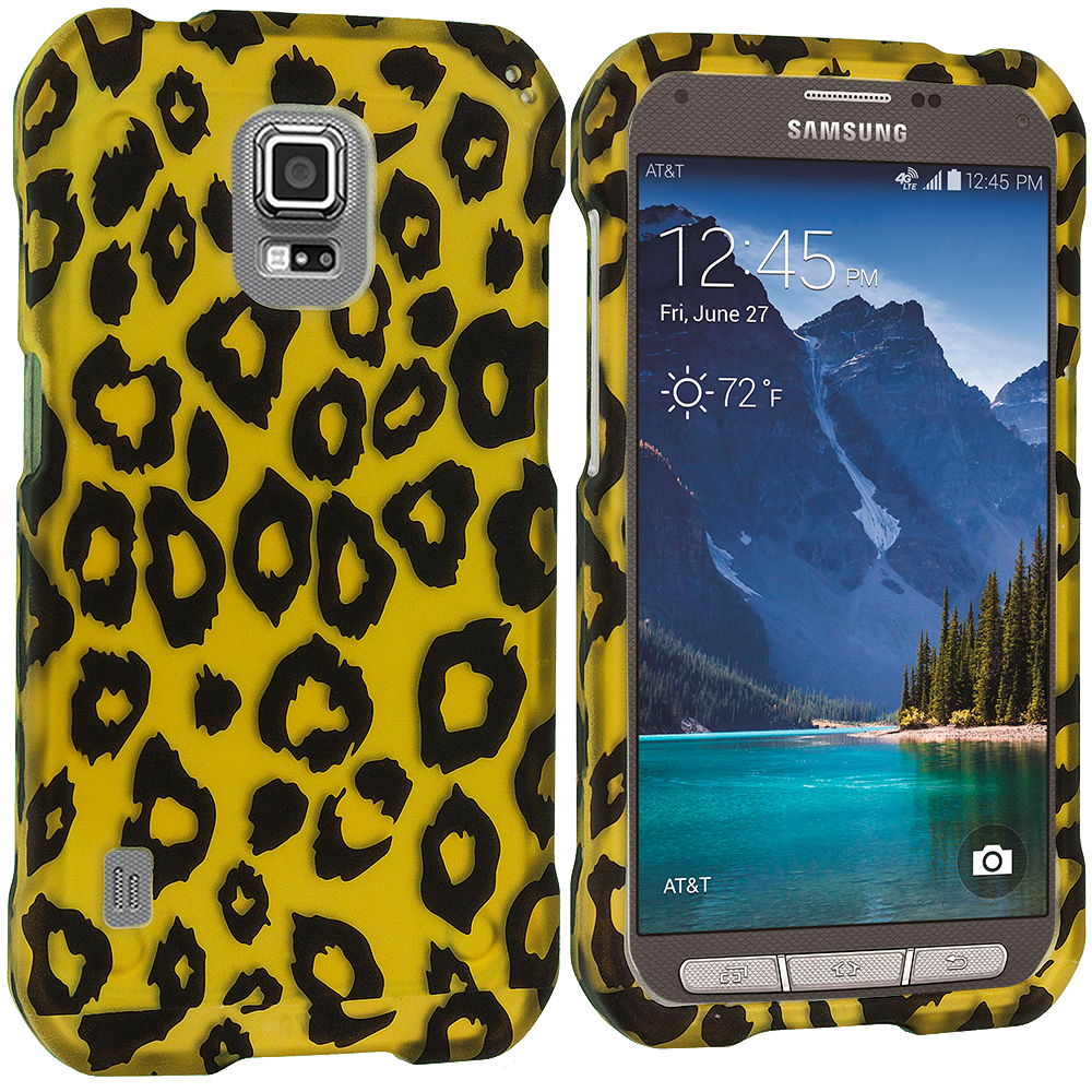 Samsung Galaxy S5 Active Black Leopard on Golden 2D Hard Rubberized Design Case Cover