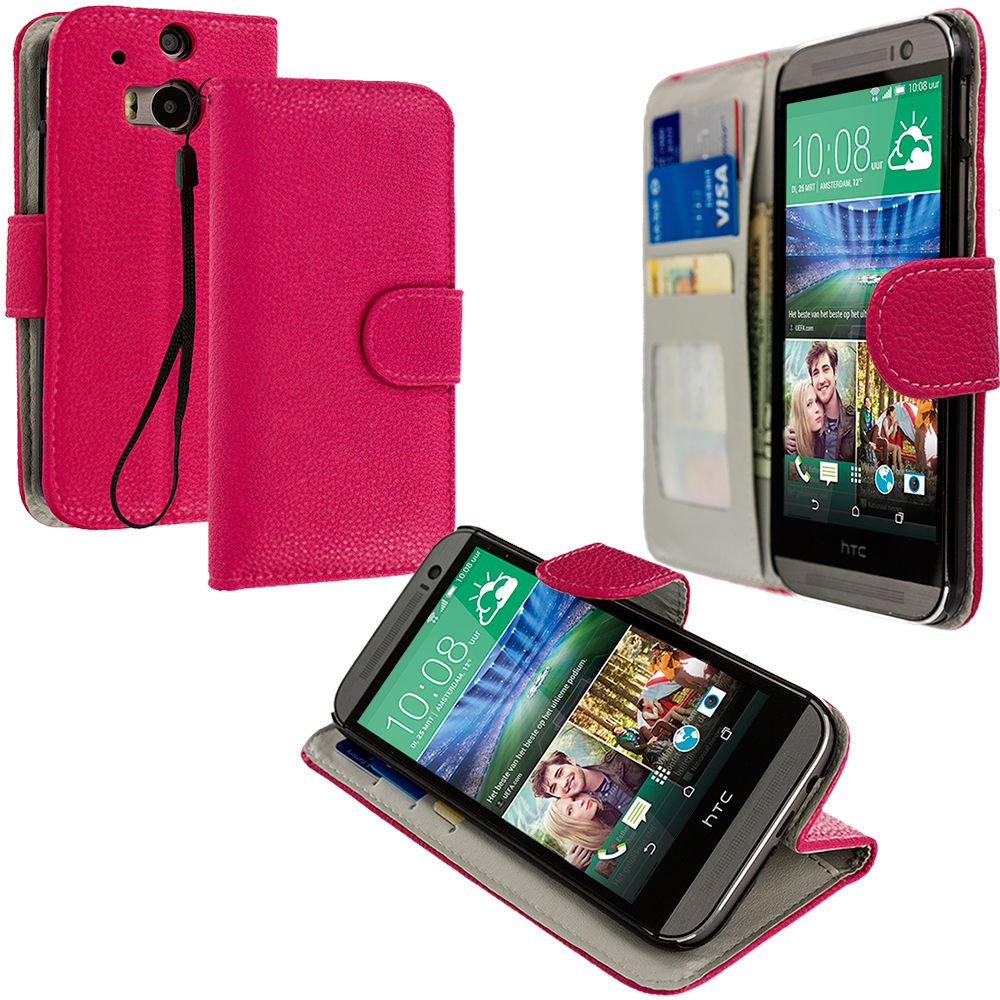 HTC One M8 Hot Pink Leather Wallet Pouch Case Cover with Slots