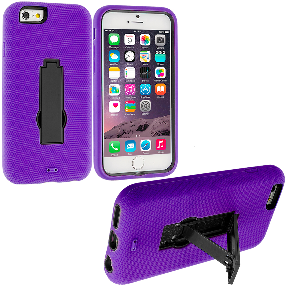 Apple iPhone 6 6S (4.7) 3 in 1 Combo Bundle Pack - Hybrid Heavy Duty Hard/Soft Case Cover with Stand : Color Purple / Black