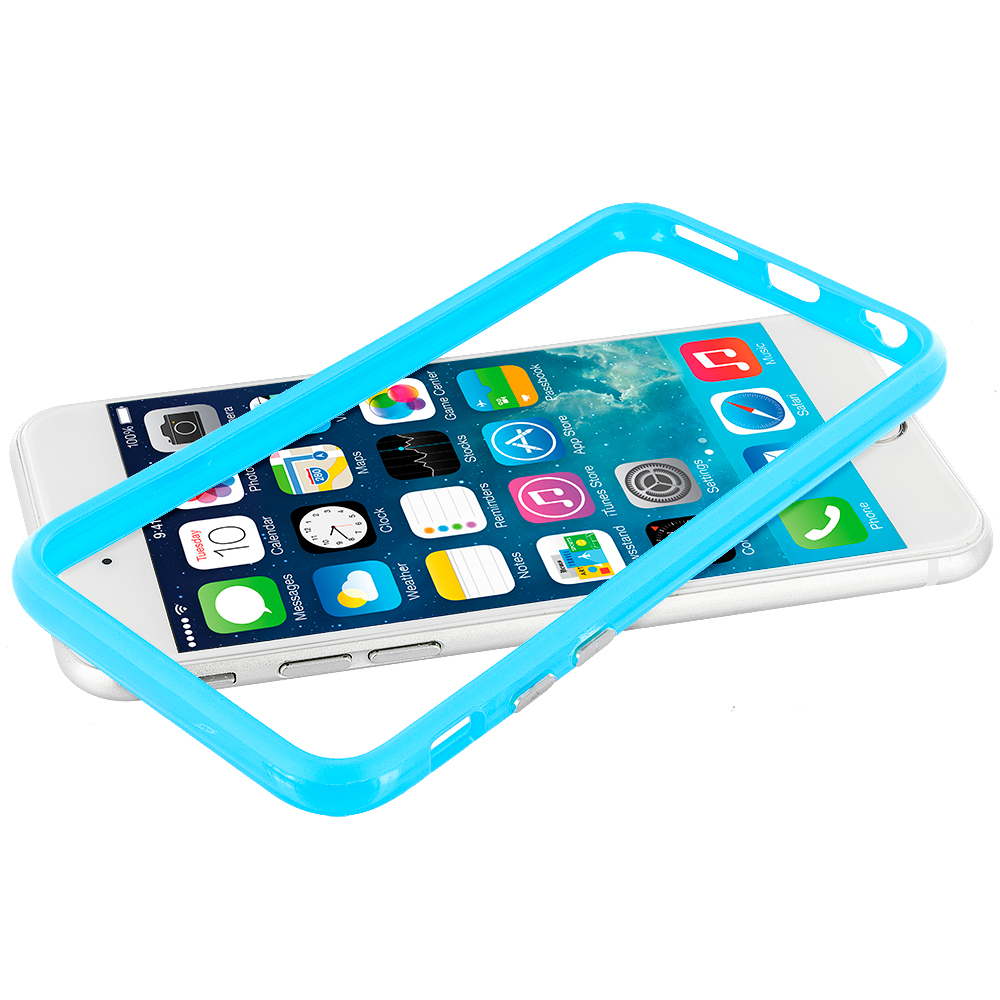 Apple iPhone 6 Plus 6S Plus (5.5) Baby Blue TPU Bumper Frame with Metal Buttons