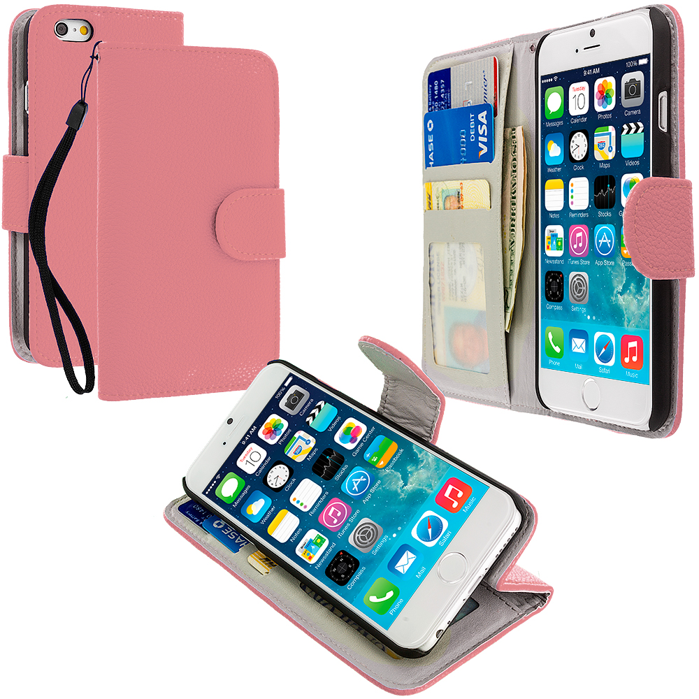 Apple iPhone 6 Plus 6S Plus (5.5) Light Pink Leather Wallet Pouch Case Cover with Slots
