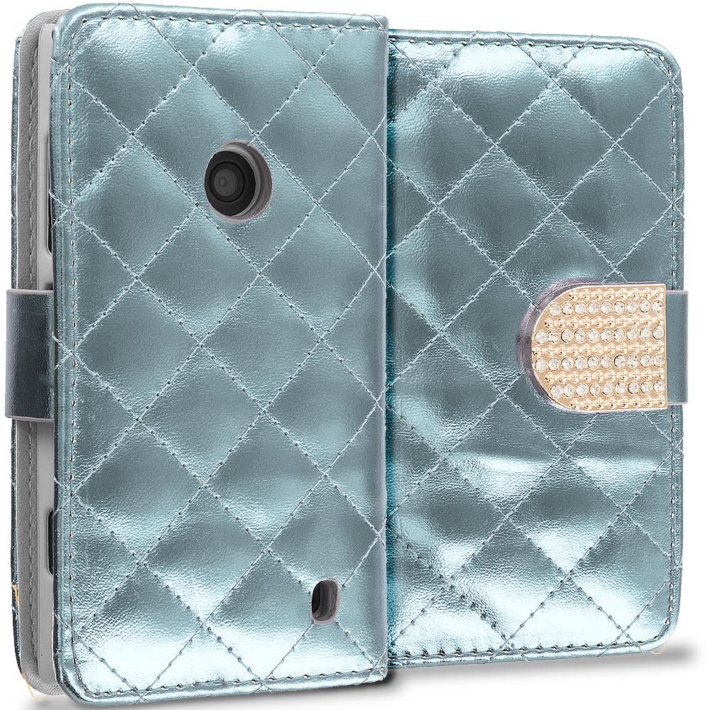 Nokia Lumia 520 White Luxury Wallet Diamond Design Case Cover With Slots
