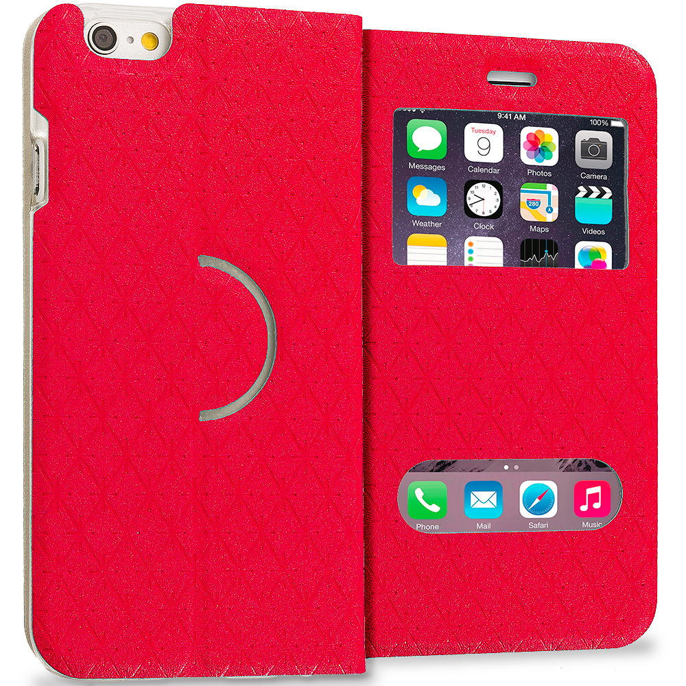 Apple iPhone 6 Plus 6S Plus (5.5) Red Slim Hard Wallet Flip Case Cover With Double Window