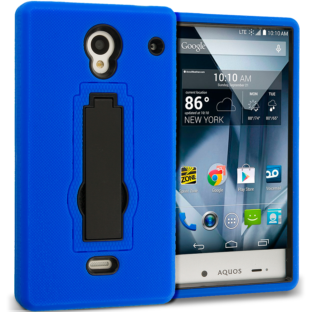 Sharp Aquos Crystal Blue / Black Hybrid Heavy Duty Hard Soft Case Cover with Kickstand